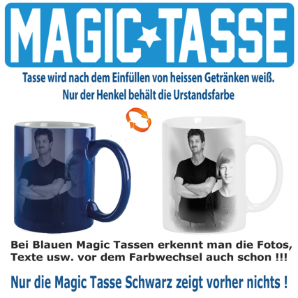 Fototasse Magic Zaubertasse Blau