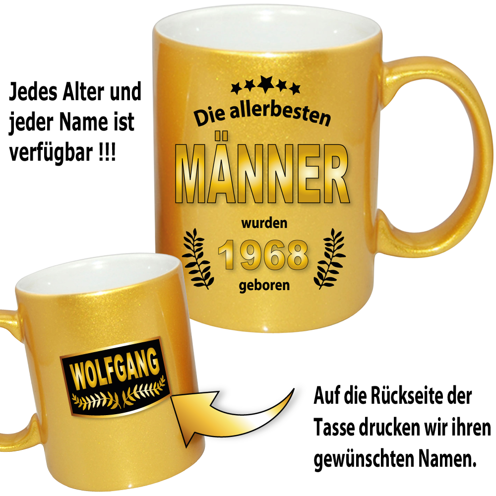 pesonalisierte gold effekt tasse zum geburtstag f r den mann. Black Bedroom Furniture Sets. Home Design Ideas